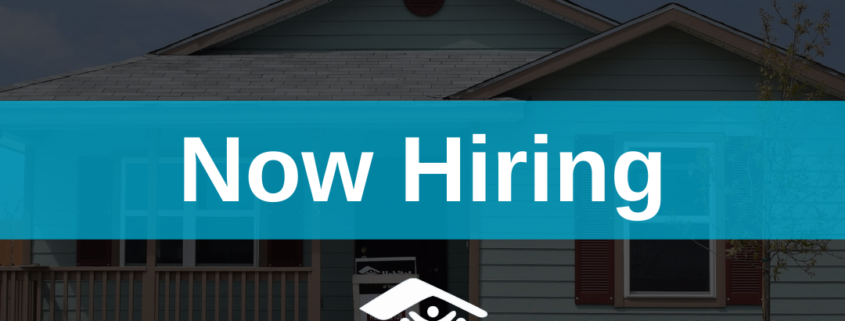 """Picture of a house with text reading """"Now Hiring"""""""